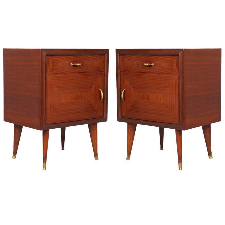 pair of mid-century modern nightstands walnut and mahogany, 1940 gio Modern Nightstands