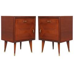 Pair of Mid-Century Modern Nightstands Walnut and Mahogany, 1940 Gio Ponti Style