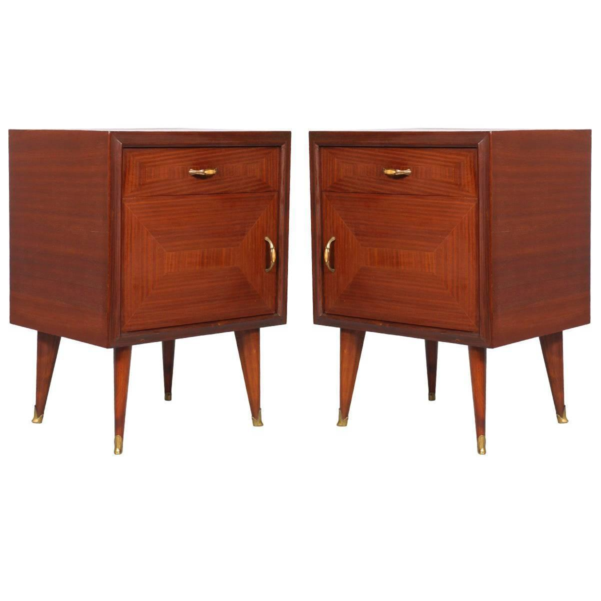 Pair of mid century modern nightstands walnut and mahogany 1940 gio ponti style at 1stdibs