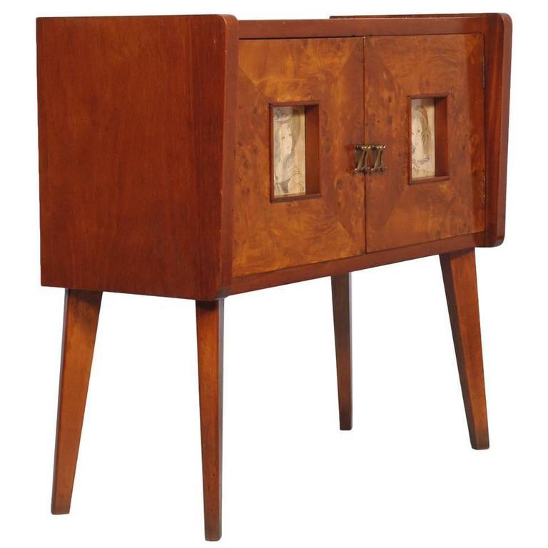 Art Deco Cabinet Sideboard Meroni & Fossati Gio Ponti Style Walnut Elm Burl