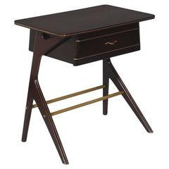 Mid-Century Modern Console Ico Parisi Style Mahogany Brass with Drawer