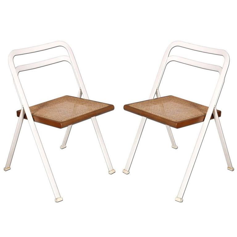 Folding Chairs By Giorgio Cattelan Steel White Frame Seat In Beech Vienna  Straw