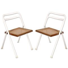 Folding Chairs by Giorgio Cattelan Steel laquered White Frame Seat Vienna Straw