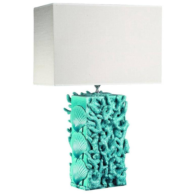 Turquoise Sea Life Table Lamp For Sale At 1stdibs