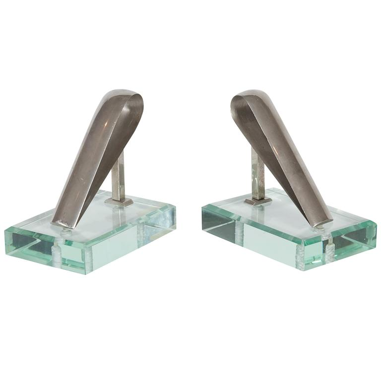 Italian Mid-Century Glass Bookends in the Style of Fontana Arte