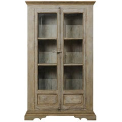 Tall Painted Display Cabinet of 19th Century French Windows and Reclaimed Wood