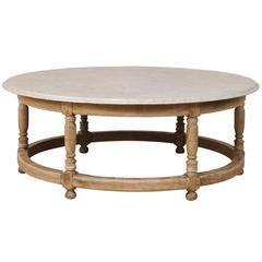 White Marble Top French Over-Sized Round Wood Coffee Table with Turned Legs