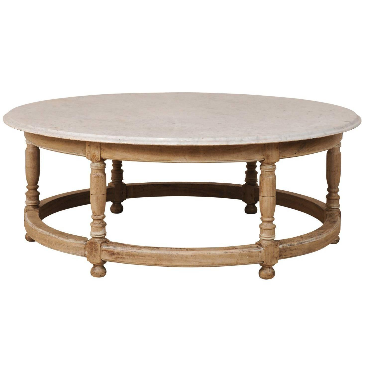 White Marble Top French Over Sized Round Wood Coffee Table with