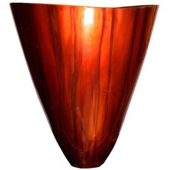 Unusual Contemporary Red Enameled Bronze Vase