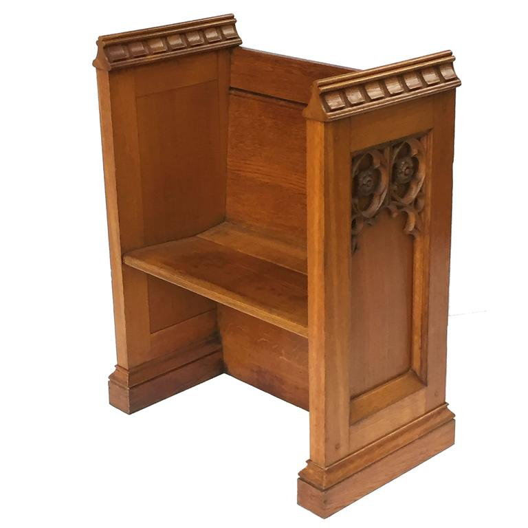 English Ecclesiastical Prayer Bench or Pew in the Gothic Style
