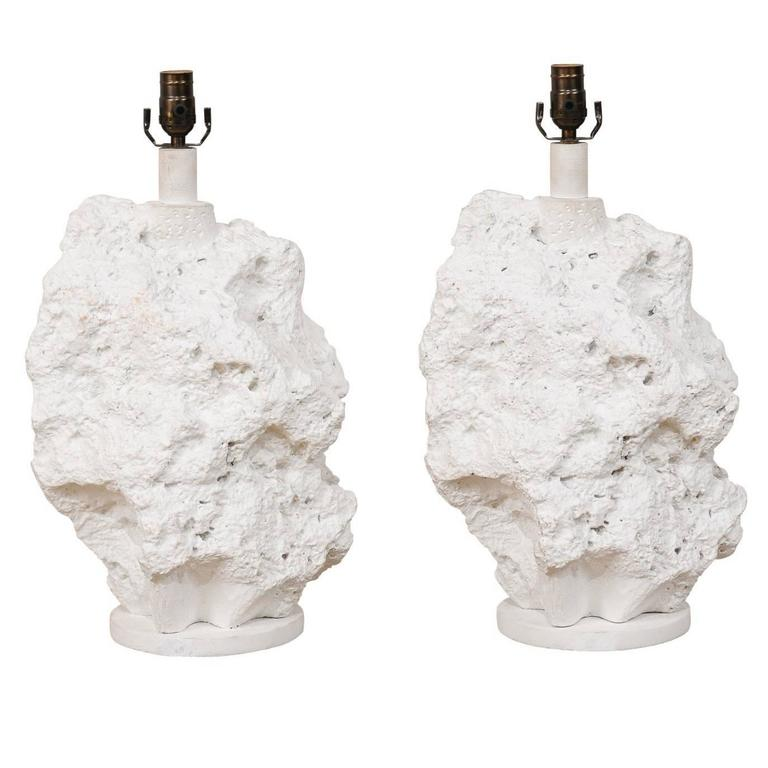 Pair of Sirmos Style White Table Lamps, Modern Sea Rock-Like Look of Plaster