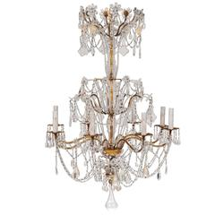 Italian Blown Glass and Crystal Chandelier Featuring Eight Lights & Swagged Trim