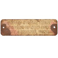 United States Trust Company of New York, Antique Embossed Steel Sign