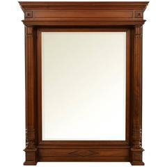 19th Century French Bevelled Wall or Overmantel Mirror with Walnut Frame