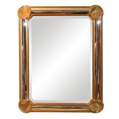 French Gilded Wall Mirror with Shell Corners
