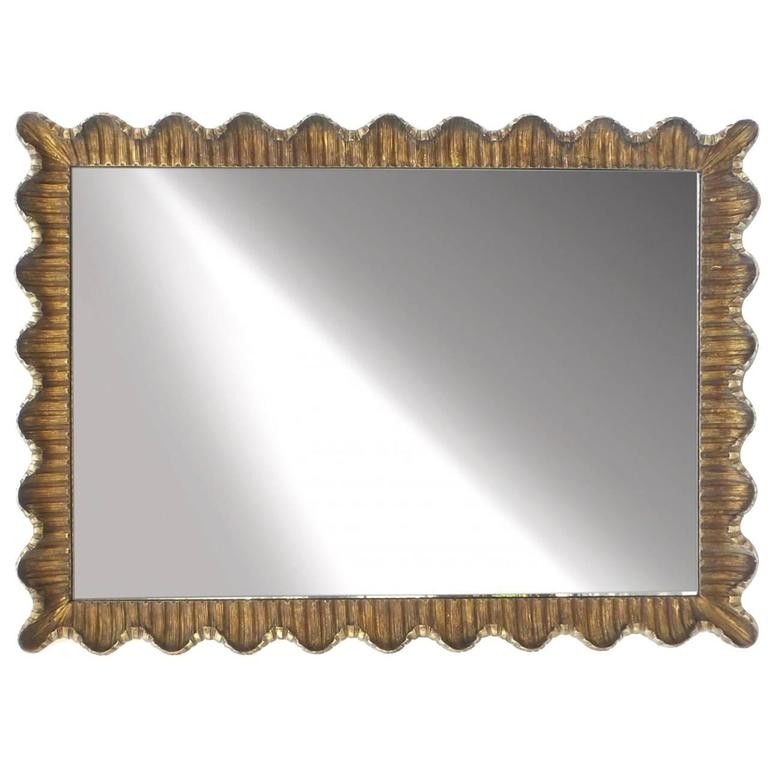 Large Scallop Form Giltwood Mirror, 1950