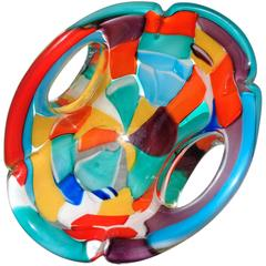 Murano Rainbow Forato Pezzato Italian Art Glass Centrepiece Bowl