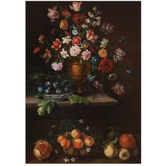 """Giovanni Stanchi Dei Fiori, Pair of Painting """"Still Life with Fruit and Flowers"""""""