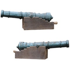 Pair of Reclaimed Early 20th Century Cast Iron Decorative Cannons