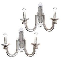 Pair of Chrome Art Deco Revival Wall Sconces, circa 1960