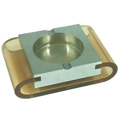 1970 Stainless Steel and Plexiglass Ashtray