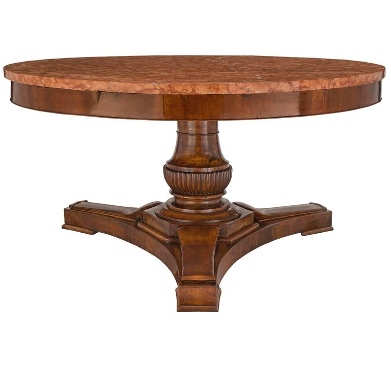 Italian 18th Century Walnut and Rosso Verona Marble Tuscan Center Table