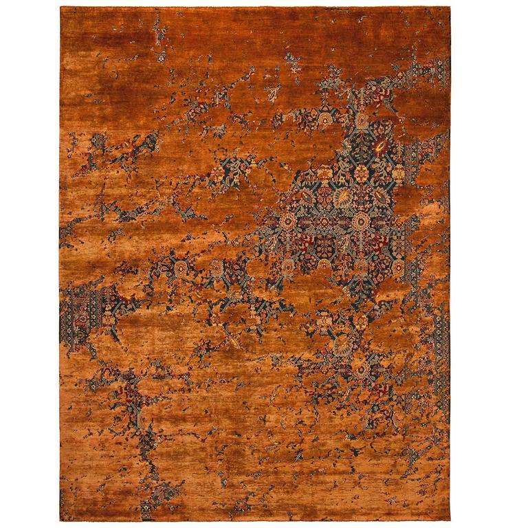 Tabriz Canal Aerial Carpet from Erased Heritage Carpet Collection by Jan Kath For Sale