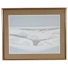 """Kensuke Wakeshima """"Snow Scape"""" Color Lithograph"""
