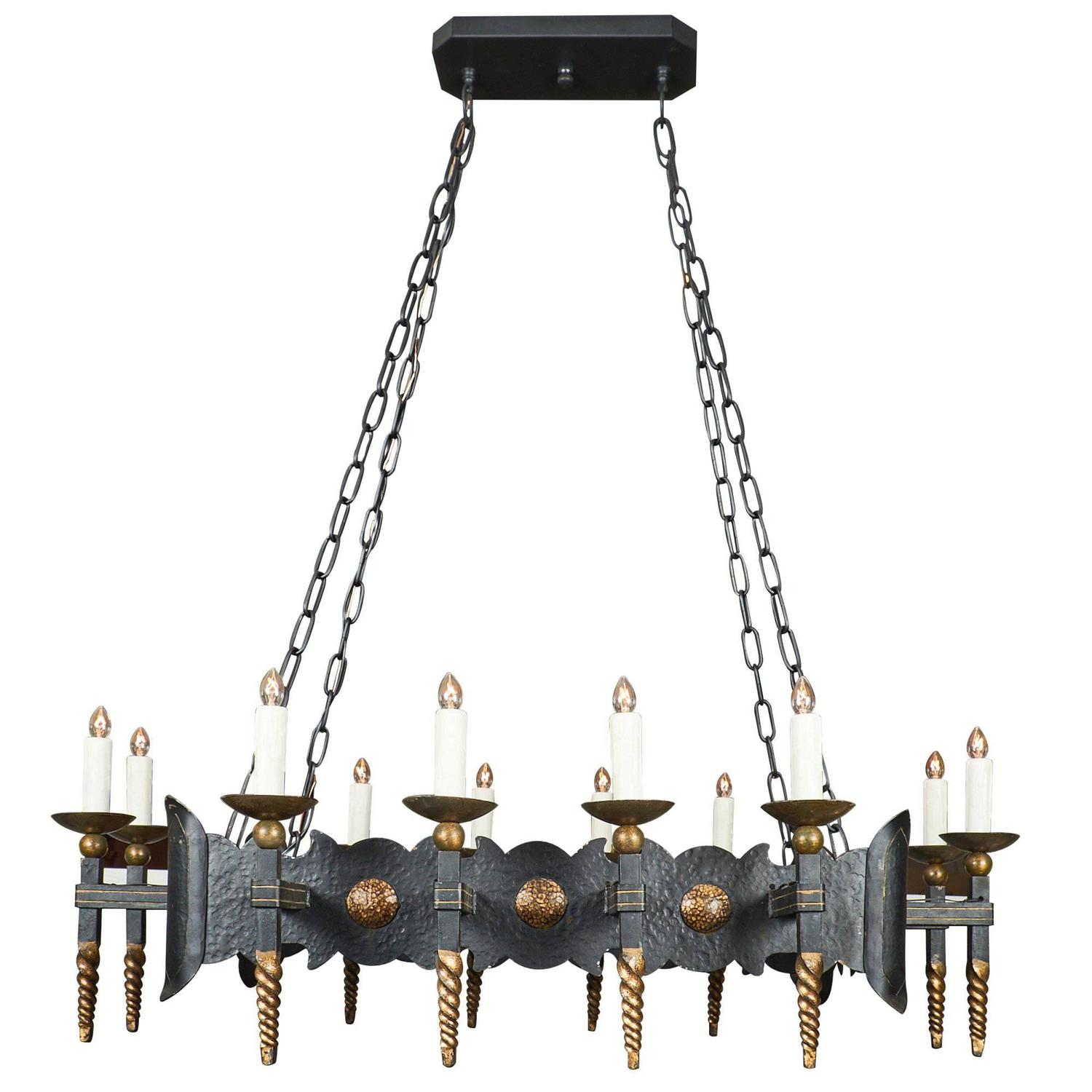 Renaissance Style Antique French Forged Iron Chandelier For Sale