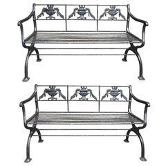 Pair of circa 1920 Made in Boston Iron Garden Benches