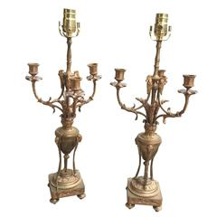 Pair of 19th Century French Louis XVI Style Gilt Bronze Candelabra as Lamps