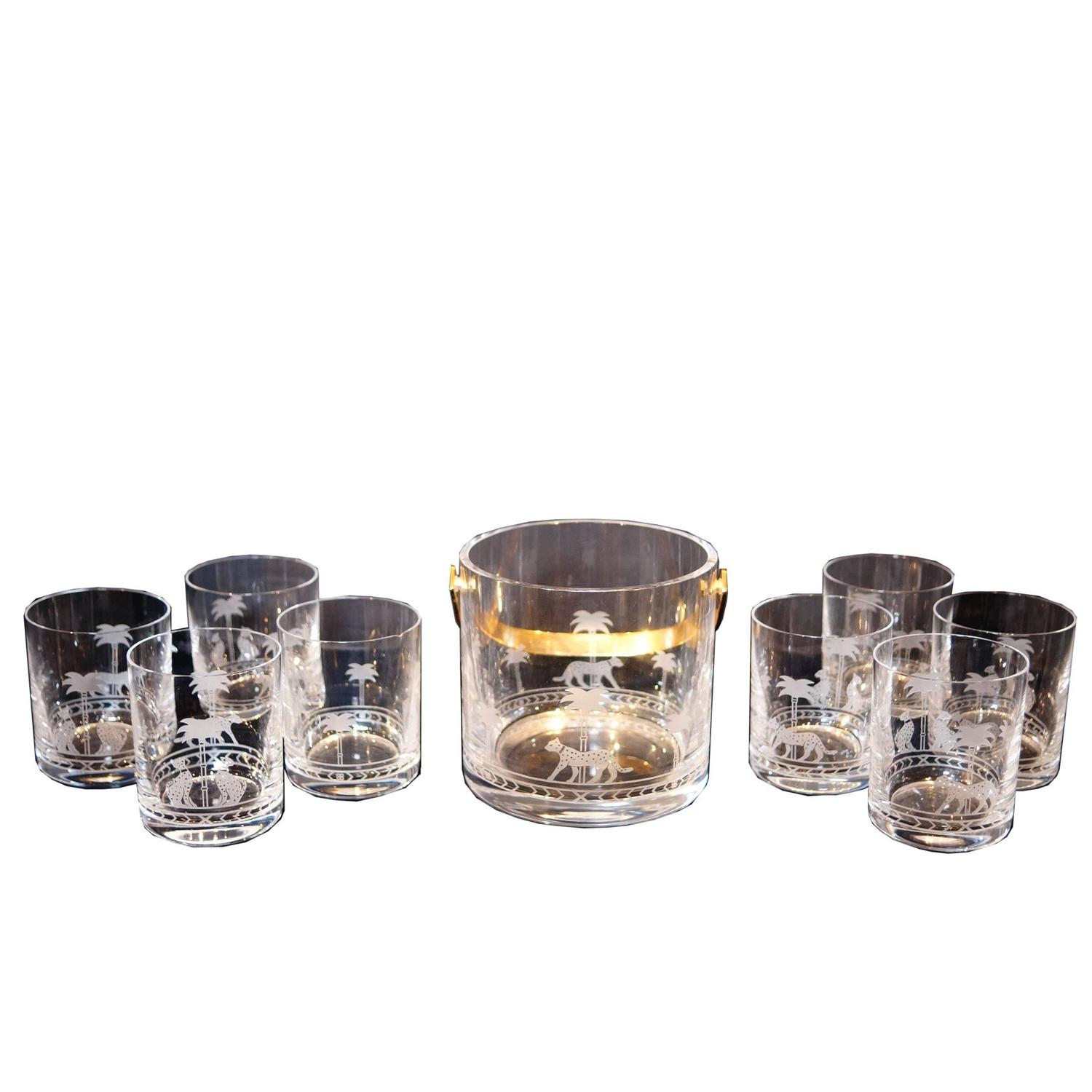 Christian Dior Nine Piece Ice Bucket And Glass Set With Etched Panther  Design