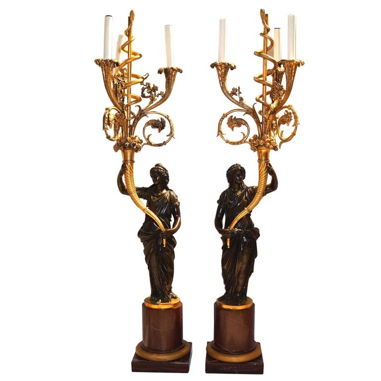 Pair of French Louis XVI Style Ormolu and Patinated Marble and Bronze Candelabra For Sale