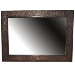 Silver Rectangular or Vertical Wall Mirror with Raised Floral Decoration
