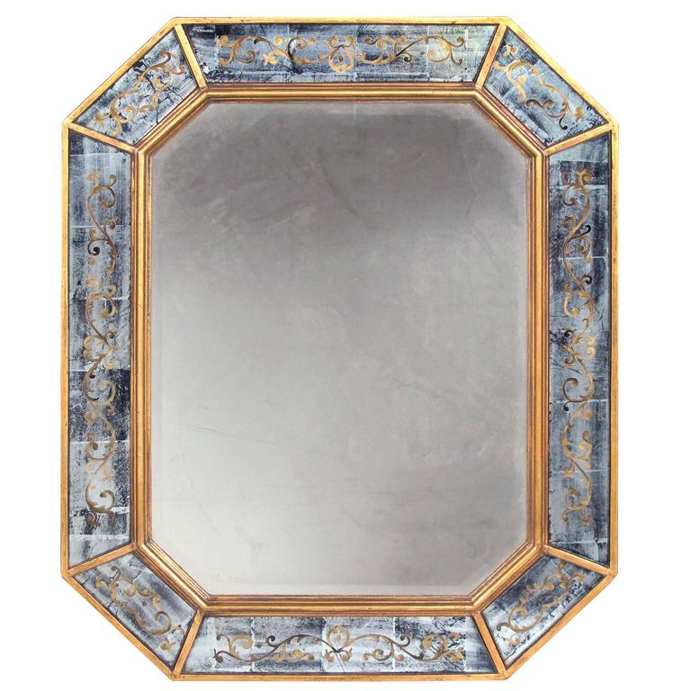 Chic French Maison Jansen 1940s Octagonal Giltwood and Eglomise Mirror 1