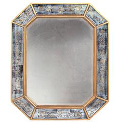 Chic French Maison Jansen 1940s Octagonal Giltwood and Eglomise Mirror