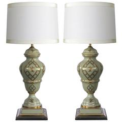 Elegant Pair of Marbro Lamp Co. 1960s Baluster-Form Celadon-Glazed Lamps