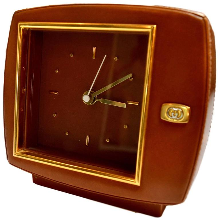 Gucci Leather and Brass Desk Clock For Sale