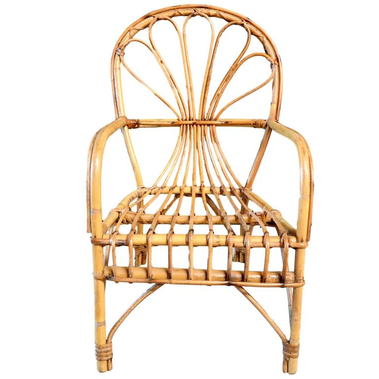 French Sculptural Rattan and Bamboo Children's Chair For Sale