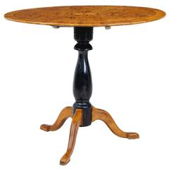 19th Century Swedish Inlaid Elm Root Oval Occasional Table