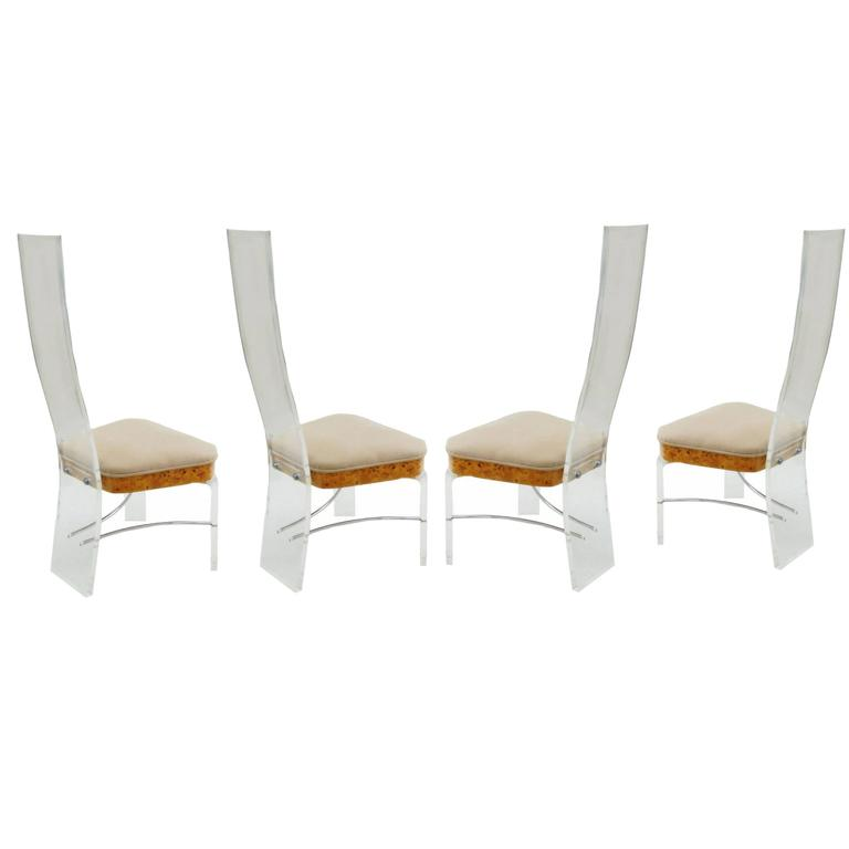 Burled Burl Wood Chrome Lucite High Back Dining Kitchen Chairs For