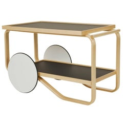 Artek Tea Trolley Bar Cart in Birchwood with Black Top & White Wheels
