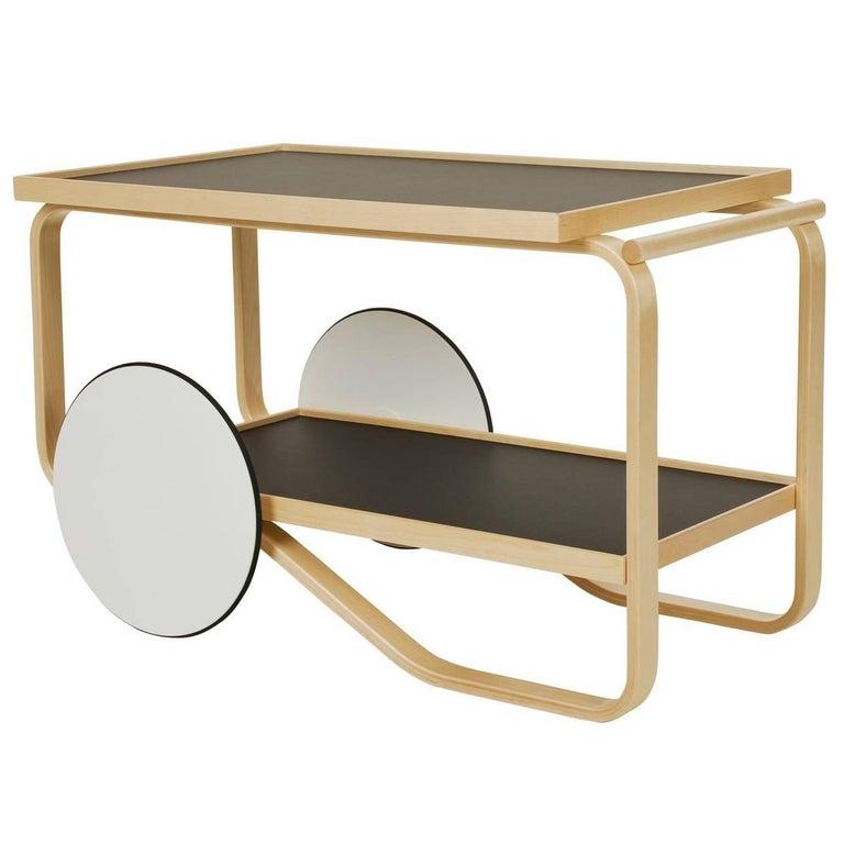 Artek Tea Trolley Bar Cart in Birchwood with Black Top & White Wheels For Sale