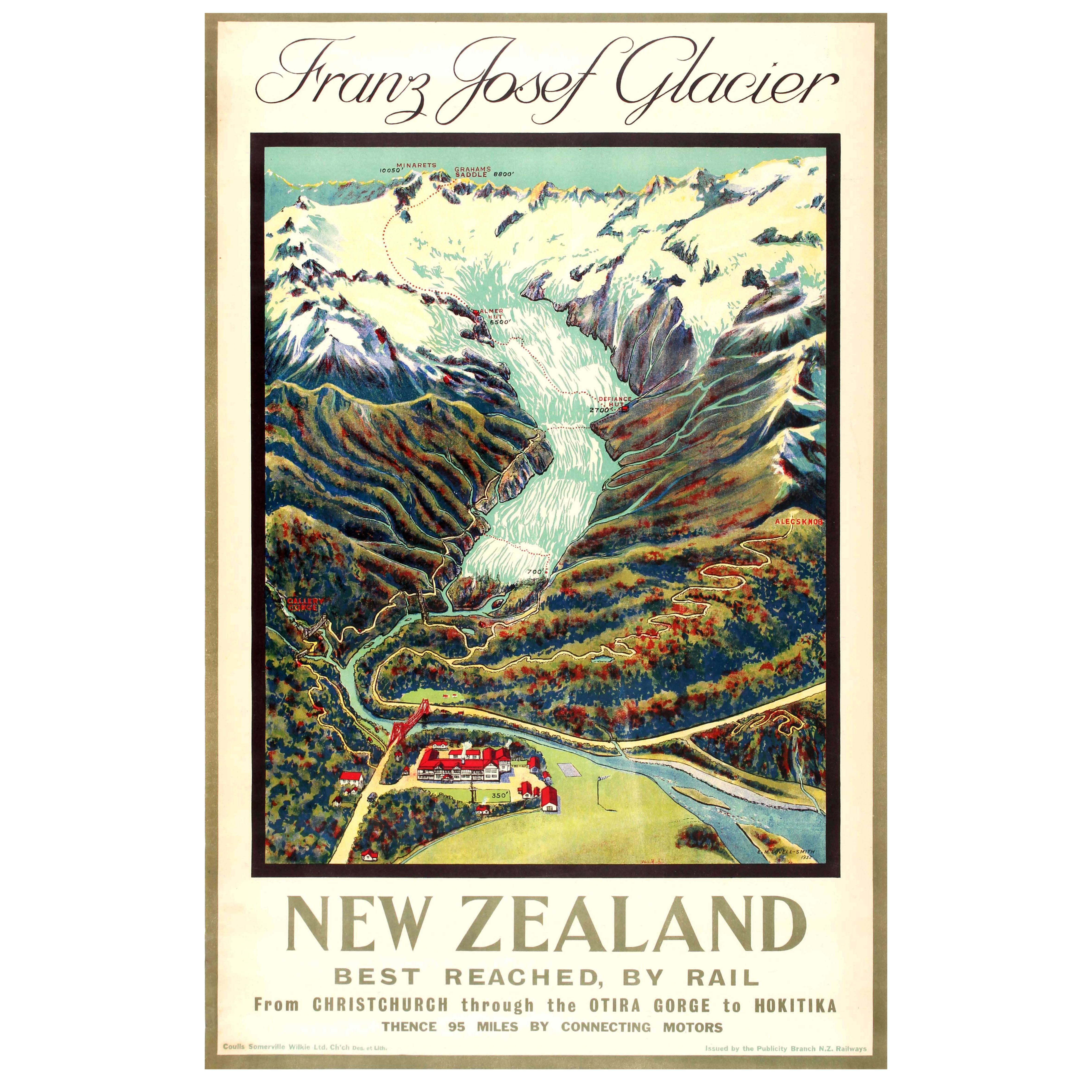 Original Vintage Rail Travel Advertising Poster: Franz Josef Glacier New Zealand