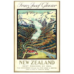 Original Vintage Rail Travel Advertising Poster: Franz Josef Glacier New Zealand