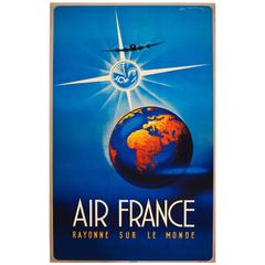 Original Vintage Air France Travel Advertising Poster, Shining on the World