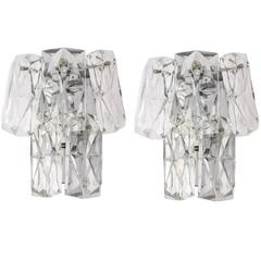 Mid-Century Modern Crystal Sconces