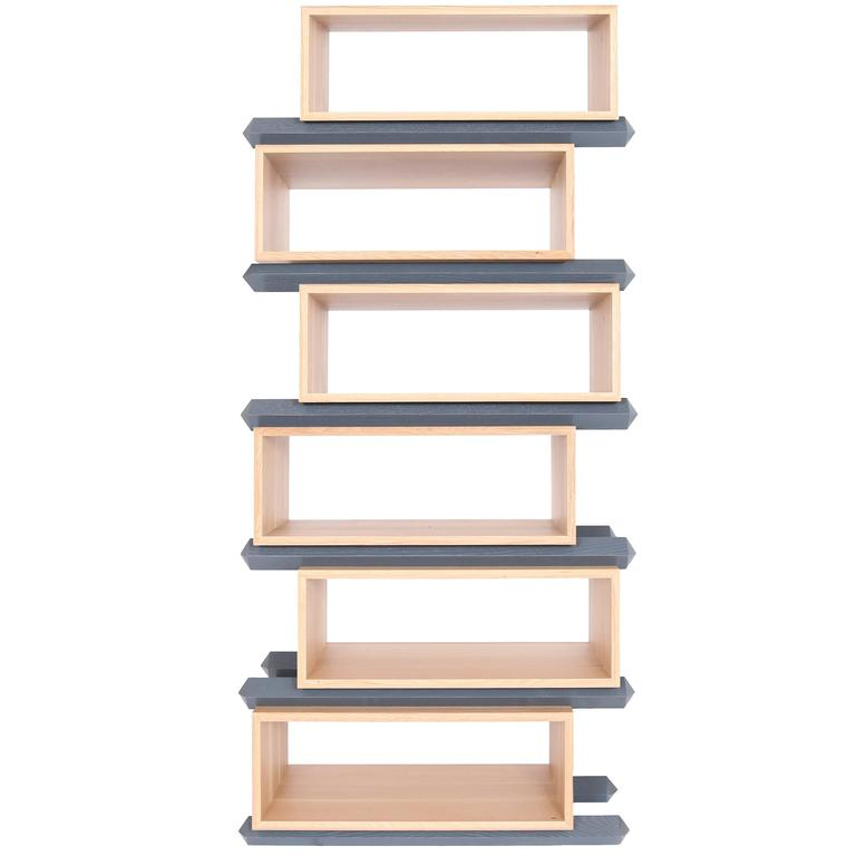 Stack Storage Six-Tier Wood Staggered Open Shelves