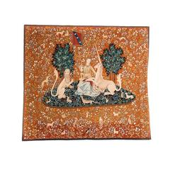 French Tapestry Painting 'Lady and the Unicorn' C.1960