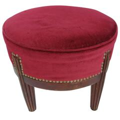 Rivited Red Velvet Footstool